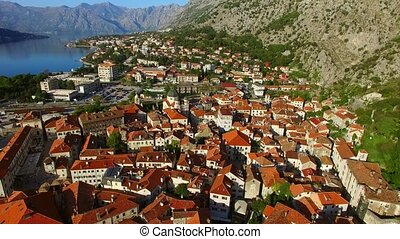 The Old Town of Kotor. Flying over the city. Aerial survey...