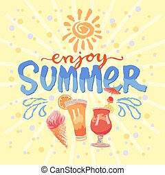 enjoy summer hand made vector illustration