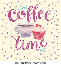 coffee time hand made vector illustration