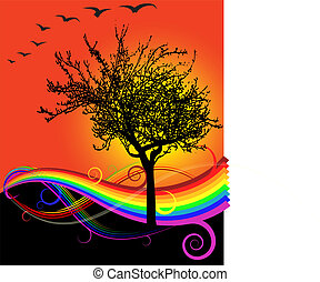 Autumn Sunset - rainbow and tree