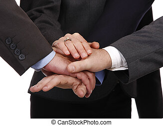 Teamwork represented as hands together in a deal.