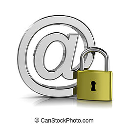 Email Security Concept - Email Chrome Sign with a Closed...