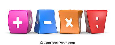 Math Operators Funny Cubes - Four Math Operators White...