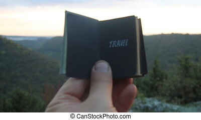 Travel concept. Book with the inscription - Book with the...