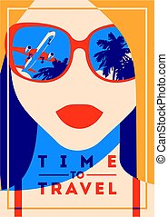 Time to Travel and Summer Camp poster. Traveling template...