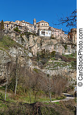 View of Cuenca, Spain - View of Cuenca historical center on...