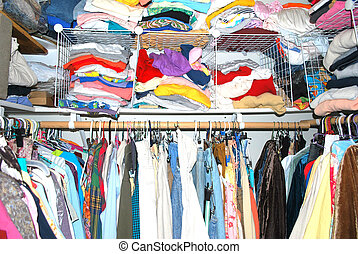 Crowded closet. - Female college student crowded closet.
