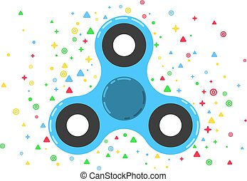 Spinner. A modern anti-stress toy in a flat style. A toy for hands and fingers. Blue colour. Multicolored pattern of symbols in the background. Bearing system