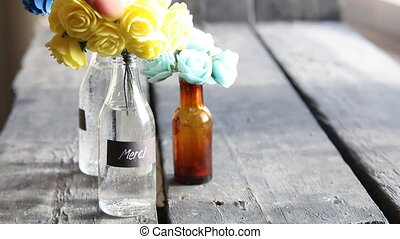 Thank you, Merci idea, nice flowers in the bottles and tag -...
