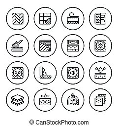 Set round line icons of floor isolated on white. Vector...