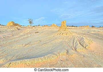 Mungo NP - Eroded clay pinnacles and sand patterns in the...