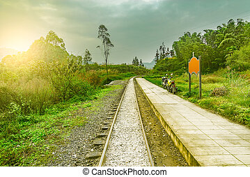 Passenger platform by the narrow-gauge railway. - Passenger...