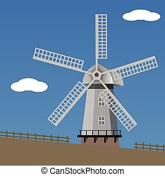 landscape with windmill, vector illustration.
