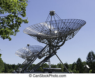 An row of radio telescopes in the Netherlands