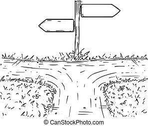 Cartoon Vector Crossroad with Empty Direction Sign with Decision Arrows