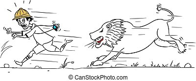 Vector Cartoon of Male Tourist Running Away from Male Lion -...