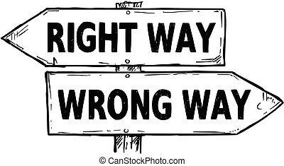 Cartoon Vector Direction Sign with Two Decision Arrows Right and Wrong Way
