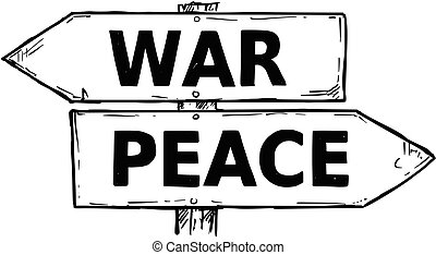 Cartoon Vector Direction Sign with Two Decision Arrows War and Peace