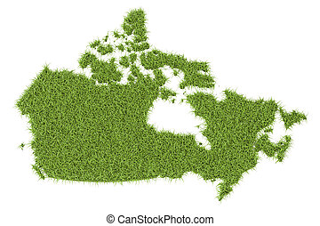 Canada map from green grass, 3D rendering isolated on white...