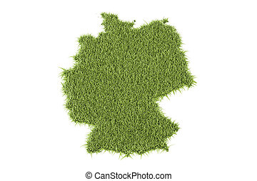 Germany map from green grass, 3D rendering isolated on white...