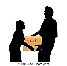 Happy buyers woman and man carrying something packed in a box
