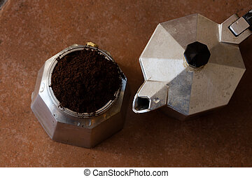 coffeepot ln a top view image - Neapolitan coffeepot in a...