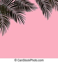 Palm Leaf Vector Background Illustration - Black and Pink...