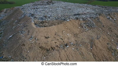 Aerial drone shot of the ecological damage. Drone flying...