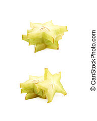 Pile of sliced carambola fruits isolated - Pile of sliced...