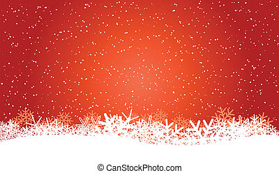winter background - red christmas background with snowflakes...