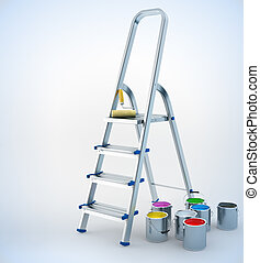metal stepladder and paint for maintenance work