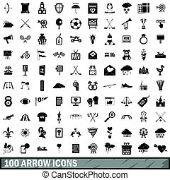100 arrow icons set, simple style - 100 arrow icons set in...