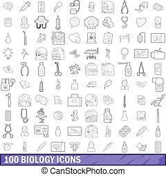 100 biology icons set, outline style - 100 biology icons set...