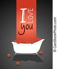 nice love message with bathtub design