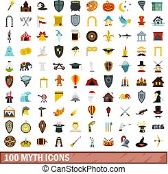 100 myth icons set, flat style - 100 myth icons set in flat...