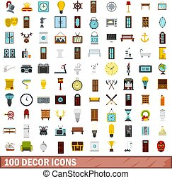 100 decor icons set, flat style - 100 decor icons set in...