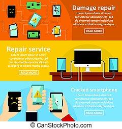 Repair cellphone banner horizontal set, flat style - Repair...