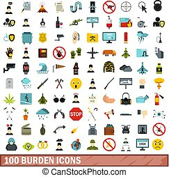 100 burden icons set, flat style - 100 burden icons set in...
