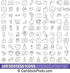 100 success icons set, outline style