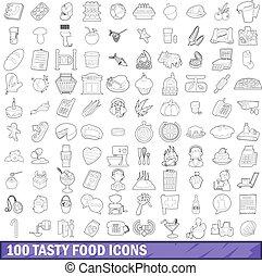 100 tasty food icons set, outline style - 100 tasty food...