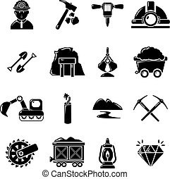 Mining minerals business icons set, simple style
