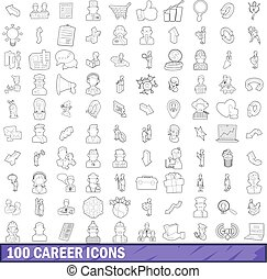 100 career icons set, outline style - 100 career icons set...