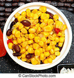 Southwestern Corn with black beans, yellow corn and...