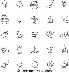 Easter icons set. Christianity icon set - Set of the Easter...