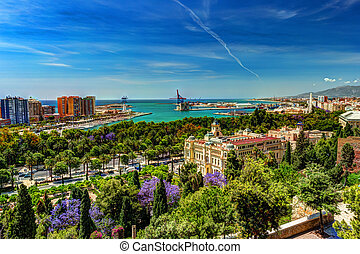 Aerial view of Malaga taken from Gibralfaro castle including...
