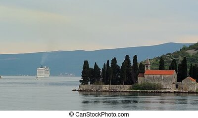 Big cruise ship in the Bay of Kotor in Montenegro. Near the isla