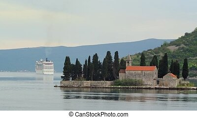 Big cruise ship in the Bay of Kotor in Montenegro. Near the...