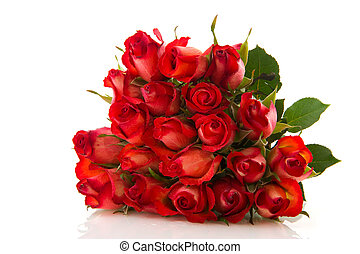 Red roses - Bouquet with twenty beautiful red roses isolated...