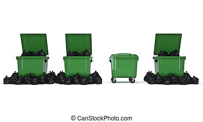 Green garbage containers. 3d rendering