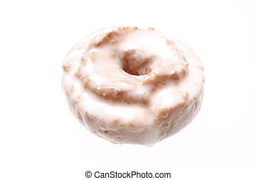 Sugar frosted donut isolated on white.